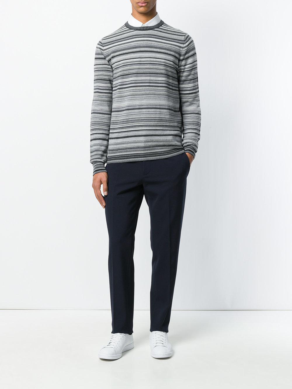 Paolo Pecora Wool Multi-stripe Sweater in Grey (Grey) for Men
