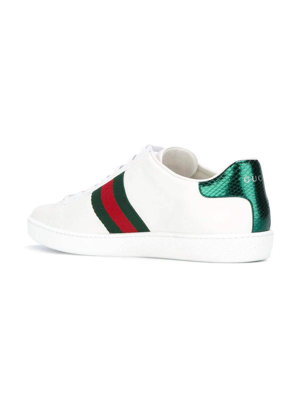 e73caa458 Gucci Gg Vintage Web Safety Pin Sneakers in White - Lyst