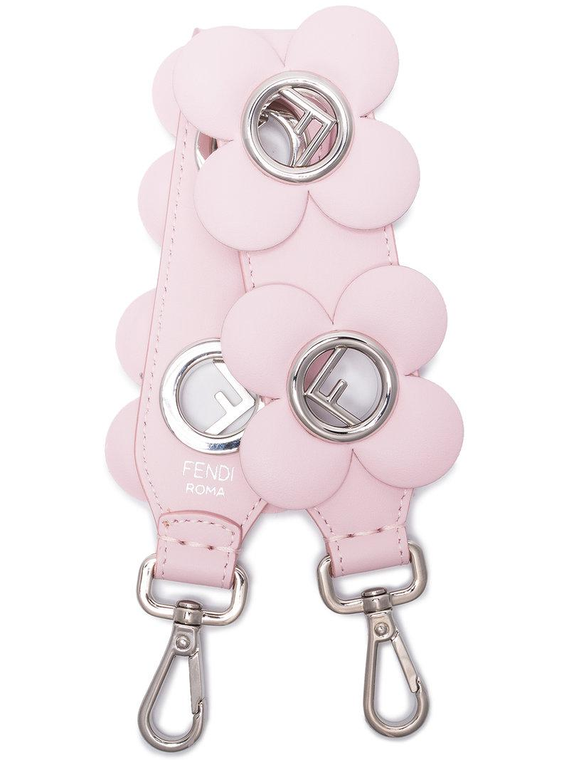 6e967eec8f Lyst - Fendi Pink Mini Strap You Floral Leather Bag Strap in Pink