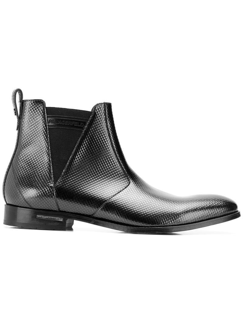 87b15ccb61912 Lyst - Karl Lagerfeld Urano Embossed Chelsea Boots in Black for Men