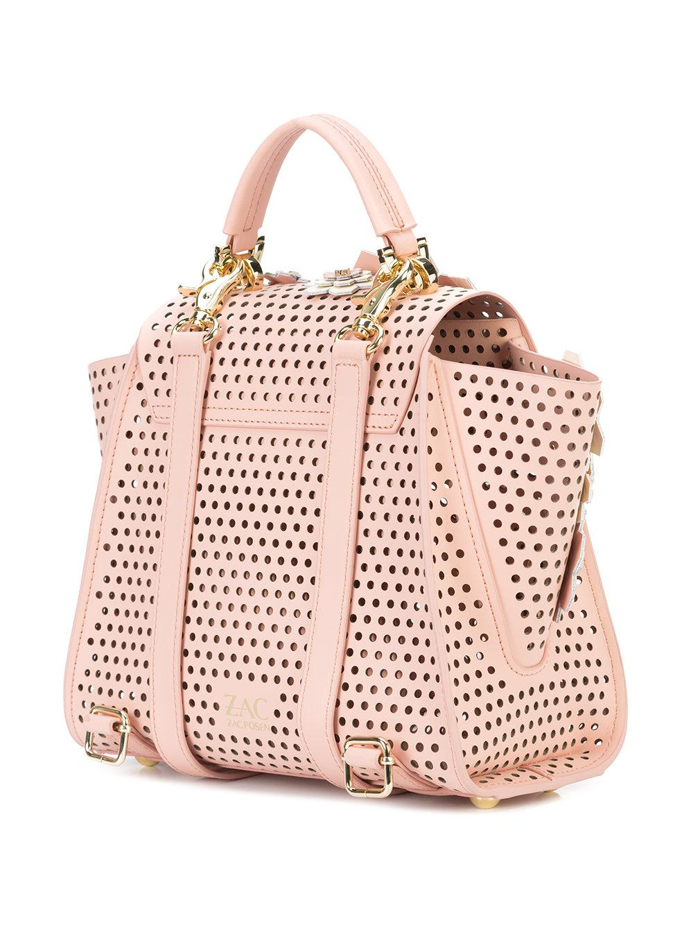 Zac Zac Posen Leather Eartha Kit Convertible Backpack in Pink & Purple (Pink)