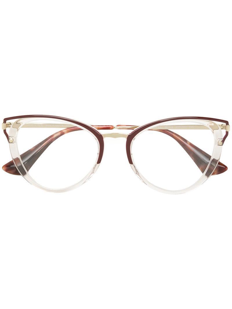 48c744eb54f Lyst - Prada Cat Eye-frame Glasses in White