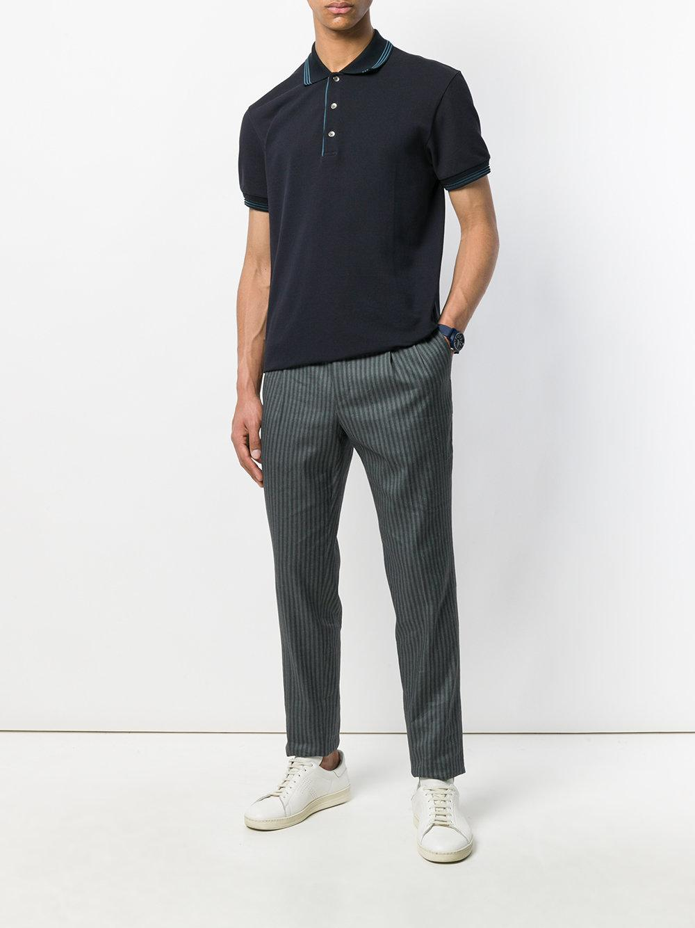 PT01 Linen Striped Cropped Trousers in Grey (Grey) for Men