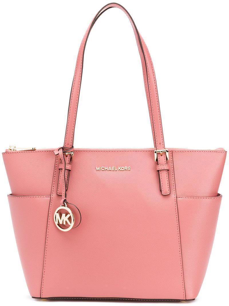 Lyst - Michael Michael Kors Jet Set Item Leather Tote Bag in Pink ... 71800b05db