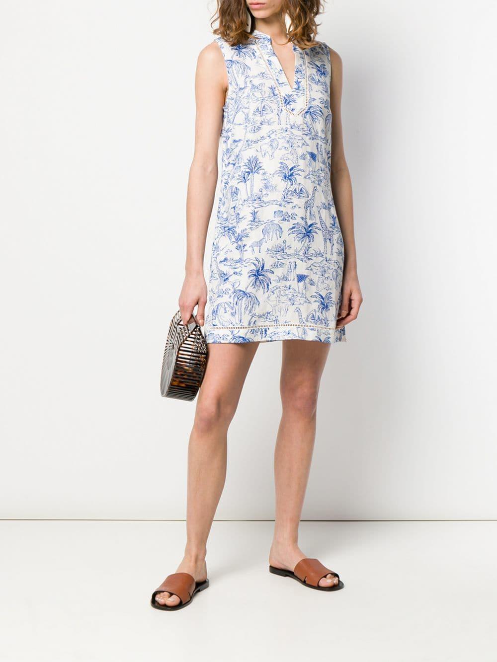 cabbac4c992 Lyst - Tory Burch Jungle Print Dress in White - Save 1%