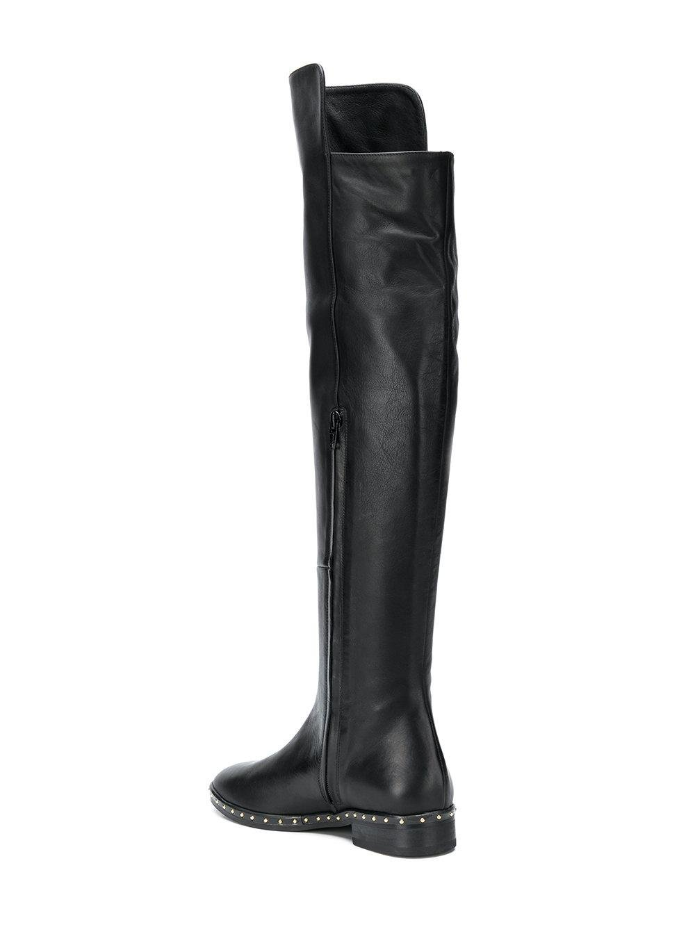 Marc Ellis Leather Studded Boots in Black