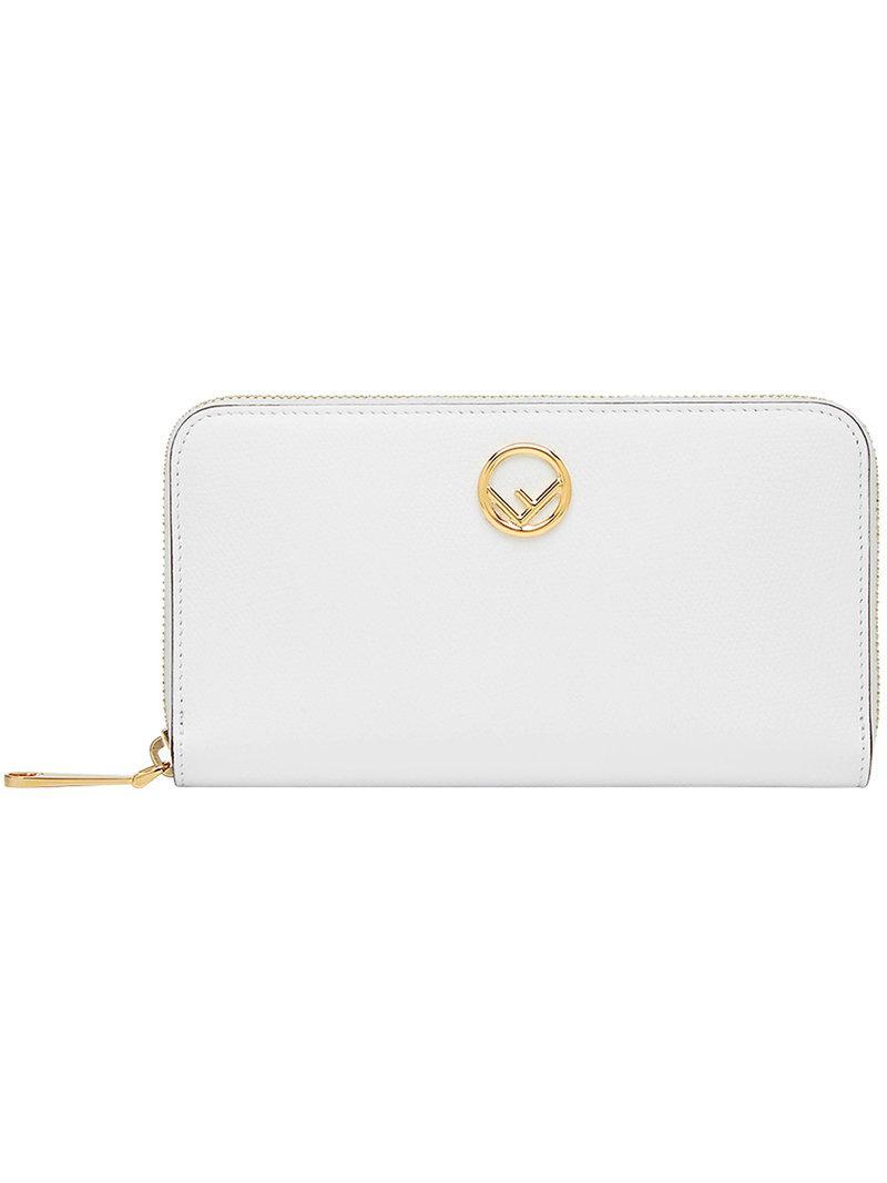 Lyst - Portefeuille à plaque logo Fendi en coloris Blanc 00602e71bc8