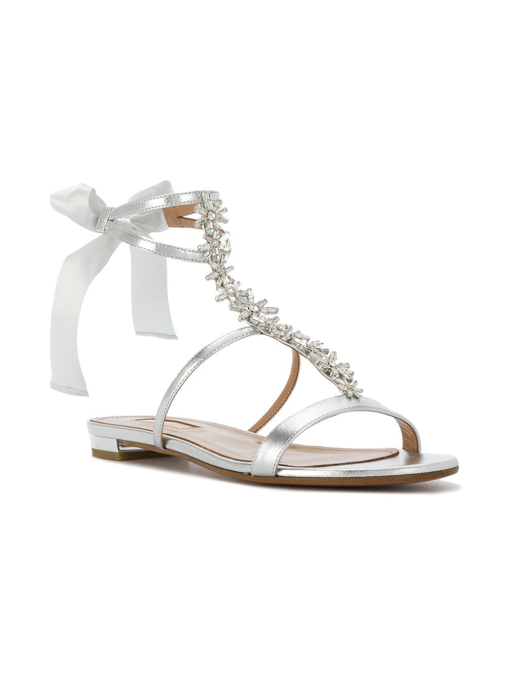 Aquazzura embellished tie back sandals footlocker finishline cheap price buy online with paypal many kinds of cheap online sale pay with paypal F28LaTapq