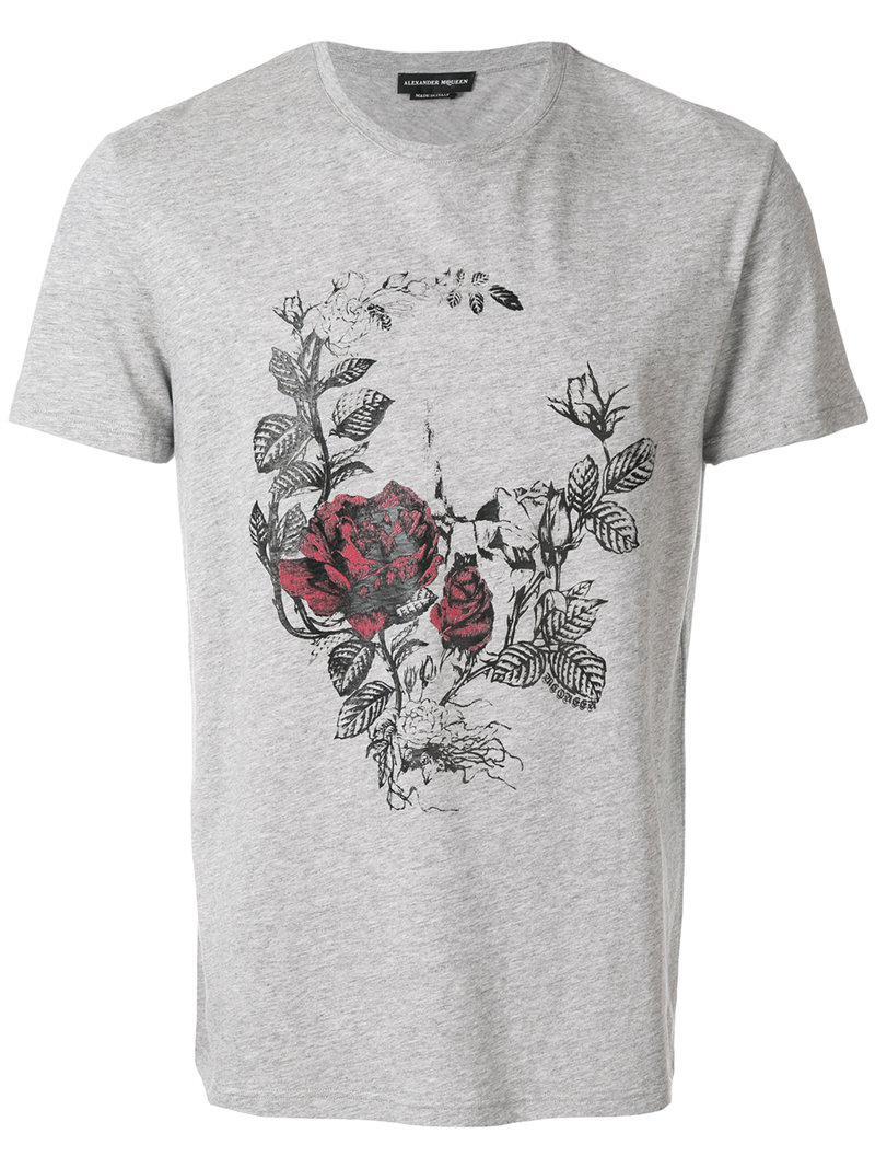 Lyst - T-shirt à fleurs Alexander Mcqueen pour homme en coloris Gris a1d11871e50