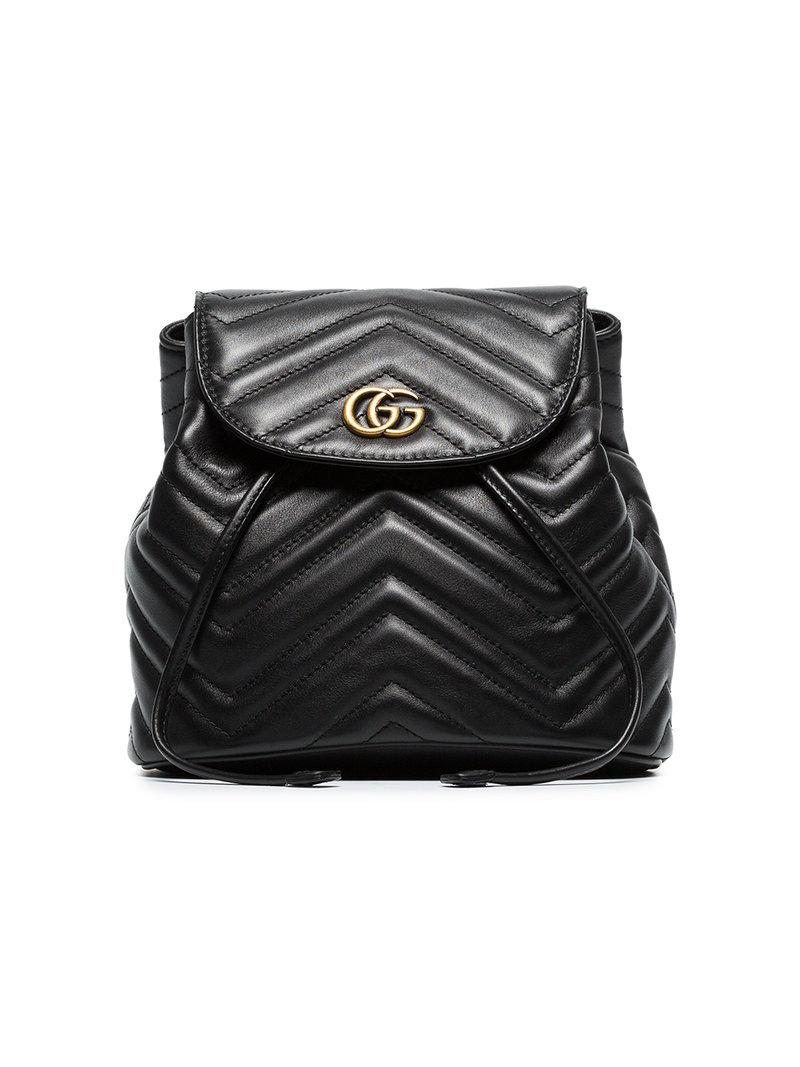 01a95b726f9 Lyst - Gucci Black Marmont Quilted Leather Backpack in Black