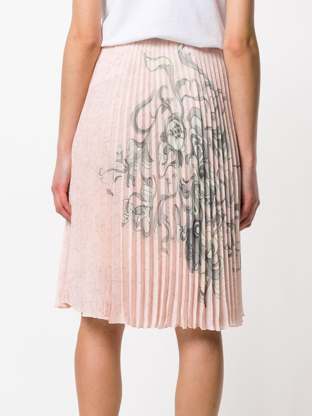 Jupe mi-longue à imprimé Prada en coloris Rose