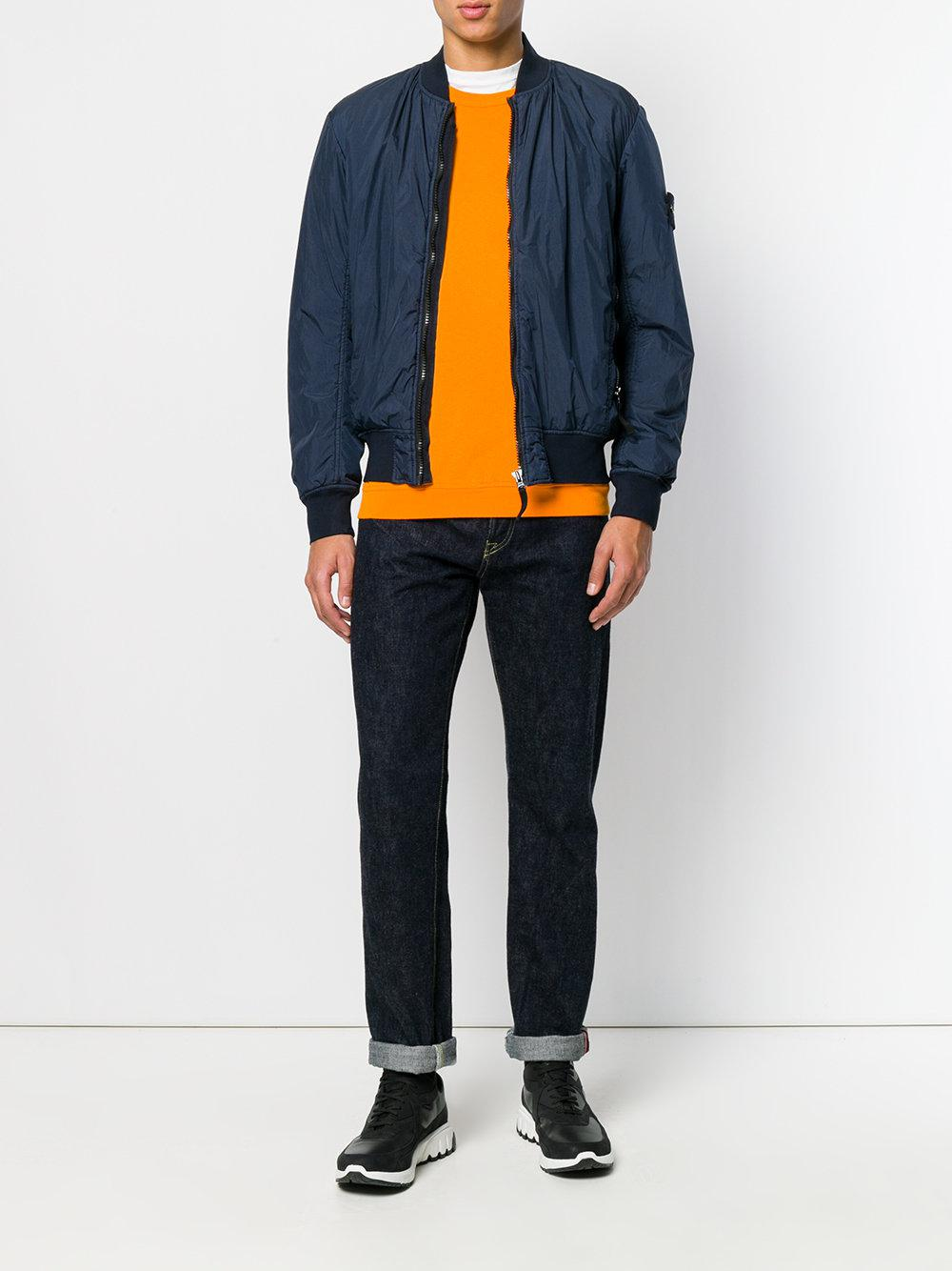 Stone Island Synthetic Garment Dyed Crinkle Reps Ny Bomber Jacket in Blue for Men