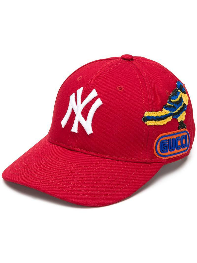 1163a299248f8 Lyst - Gorra de béisbol NY Yankees Gucci de color Rojo