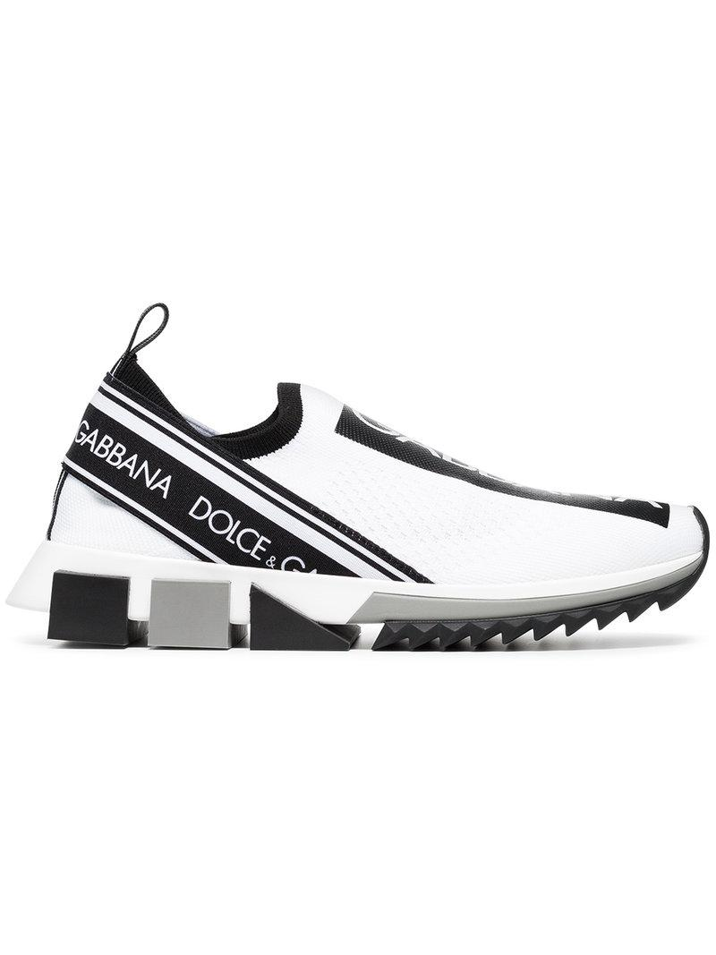 Gabbana Dolce À amp; En Blanc Imprimé Coloris Logo Baskets Lyst wCqxn1A
