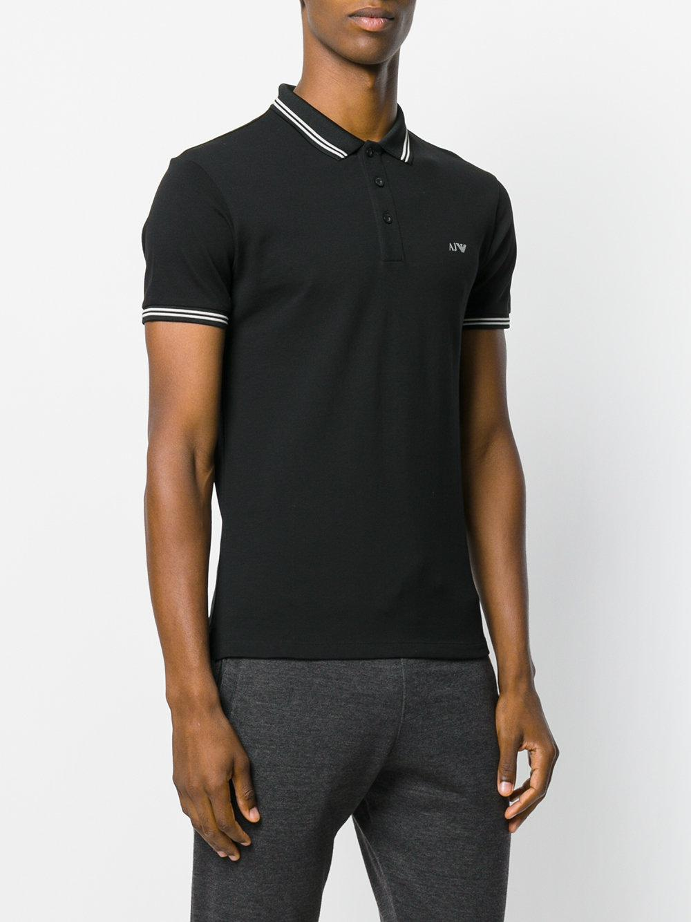 Lyst armani jeans embroidered logo polo shirt in black for Polo shirt and jeans