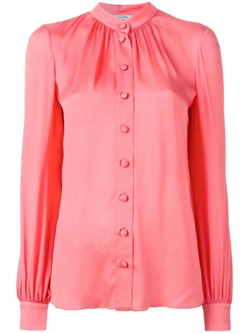 Lyst Lanvin Button Down Blouse In Pink