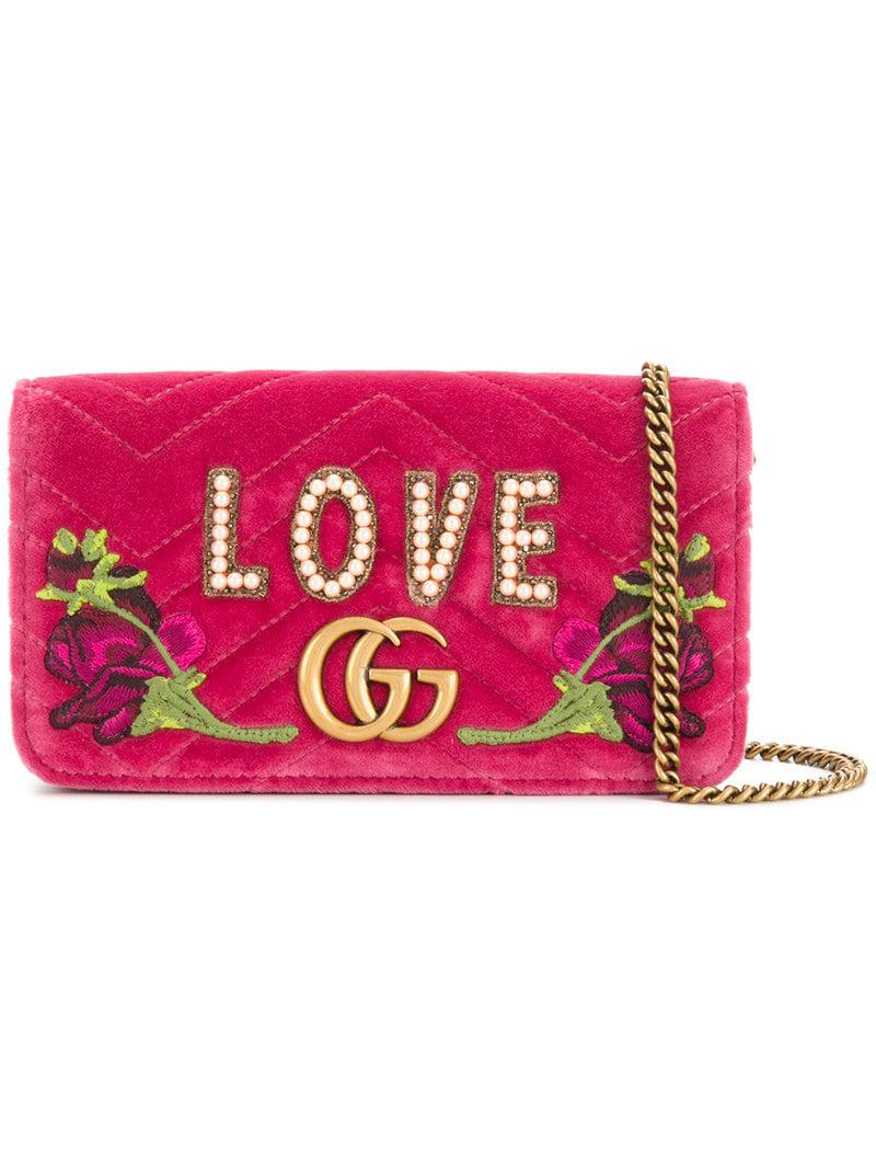 bc85b2ddf1fbc Gucci GG Marmont Embroidered Mini Bag in Pink - Save 44% - Lyst