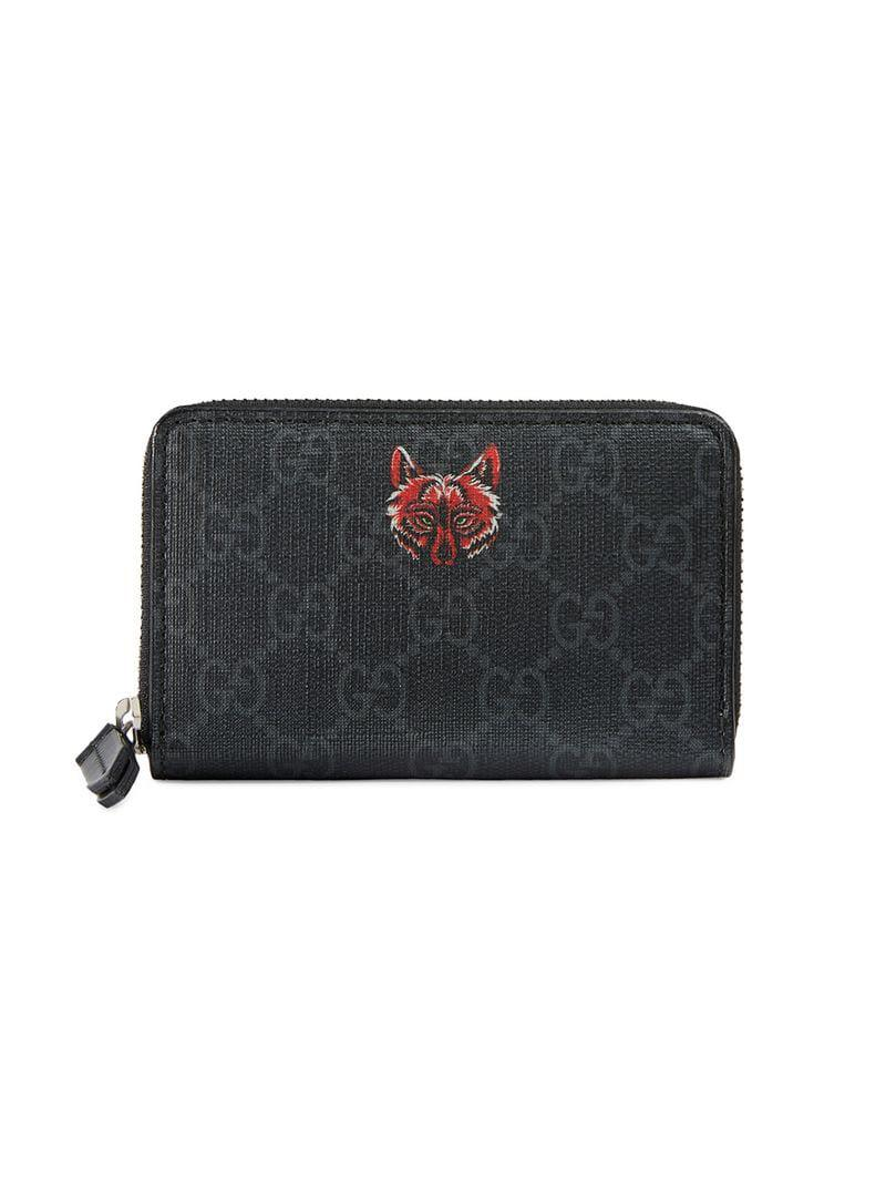 388f8d367f8 Gucci Wolf GG Supreme Card Case in Black for Men - Lyst
