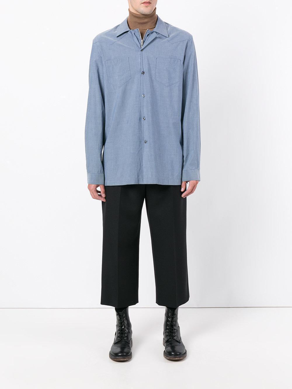 Maison Margiela Cotton Western Style Oversized Shirt in Blue for Men