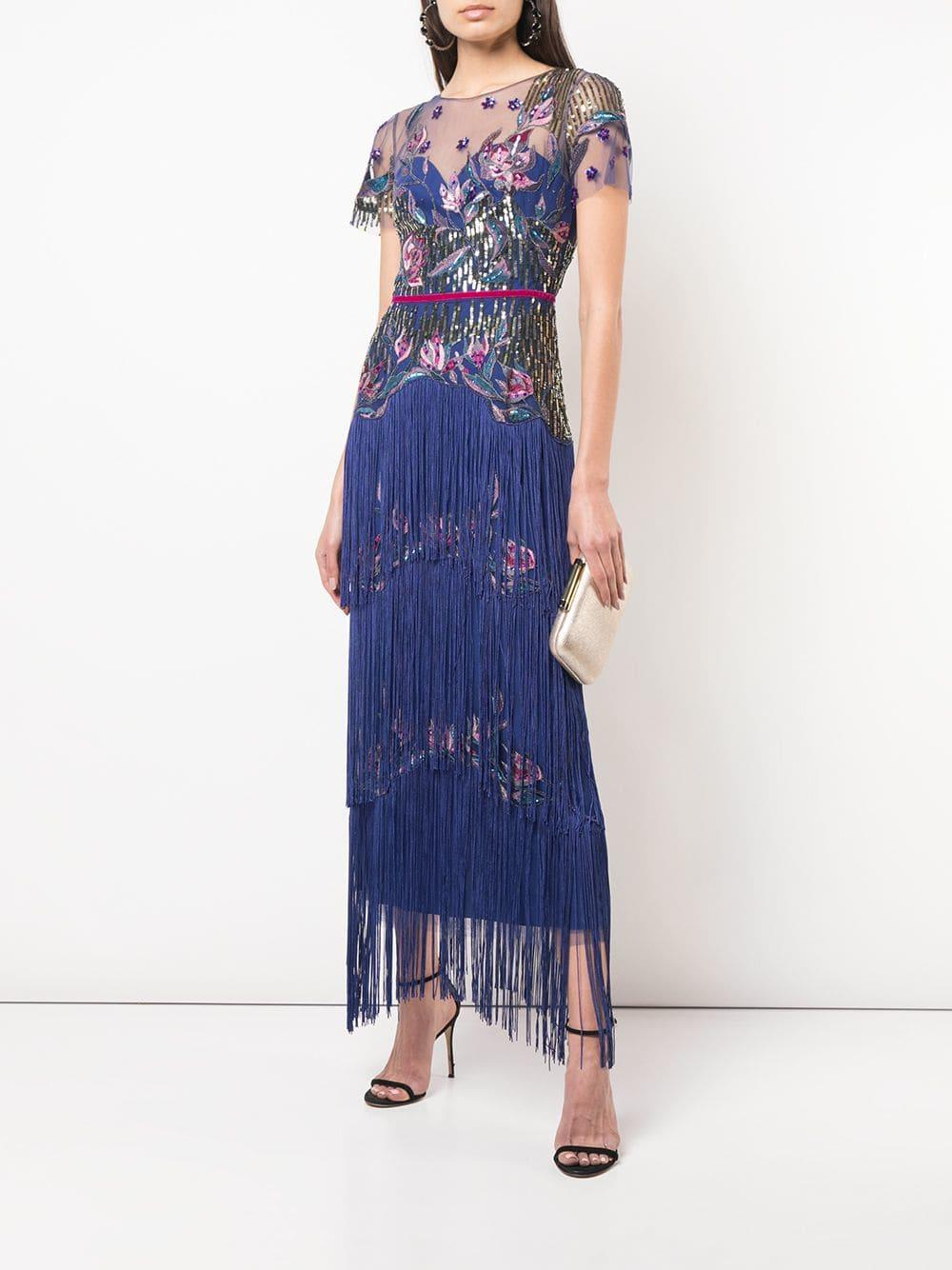 c07314155444 Marchesa notte Tiered Fringe Evening Gown in Blue - Lyst