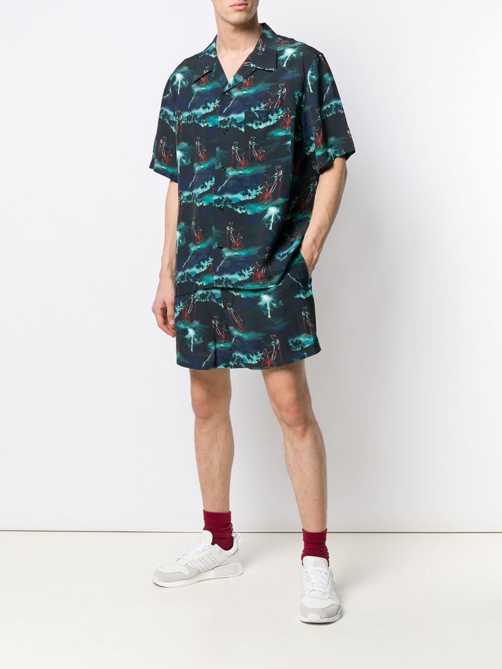 You As Shorts Met Hawaii Print in het Blauw voor heren