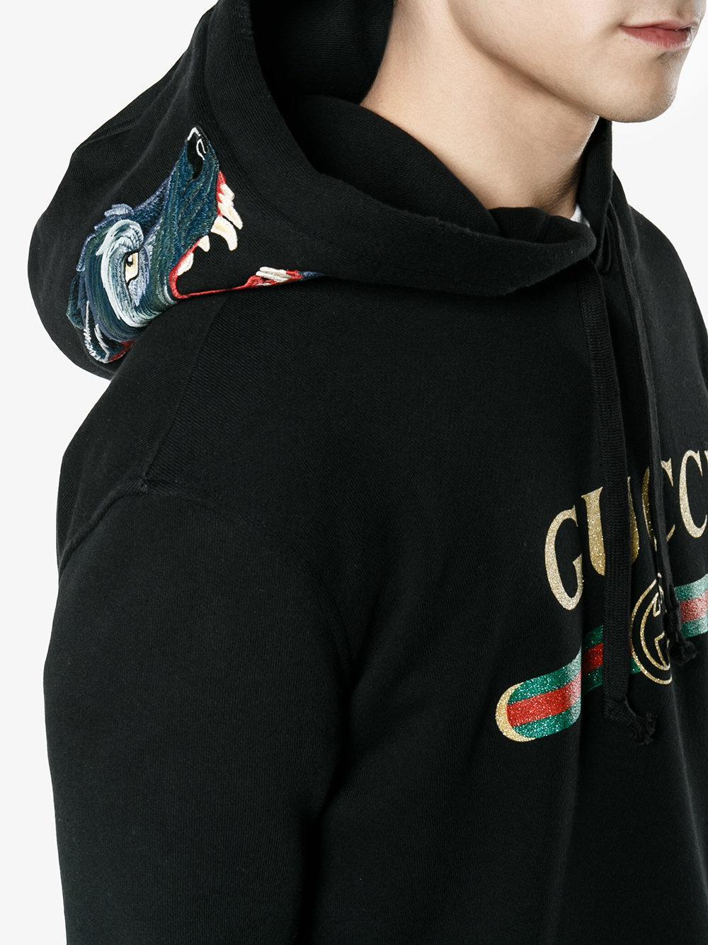 check out a1bba 01922 Gucci Black Felpa Con Lupo Ricamato for men