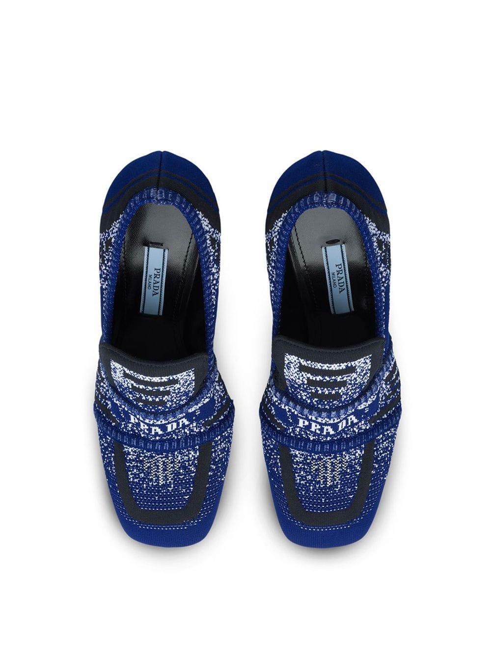 Zapatos de tacón de punto estilo mocasines Prada de Cuero de color Azul