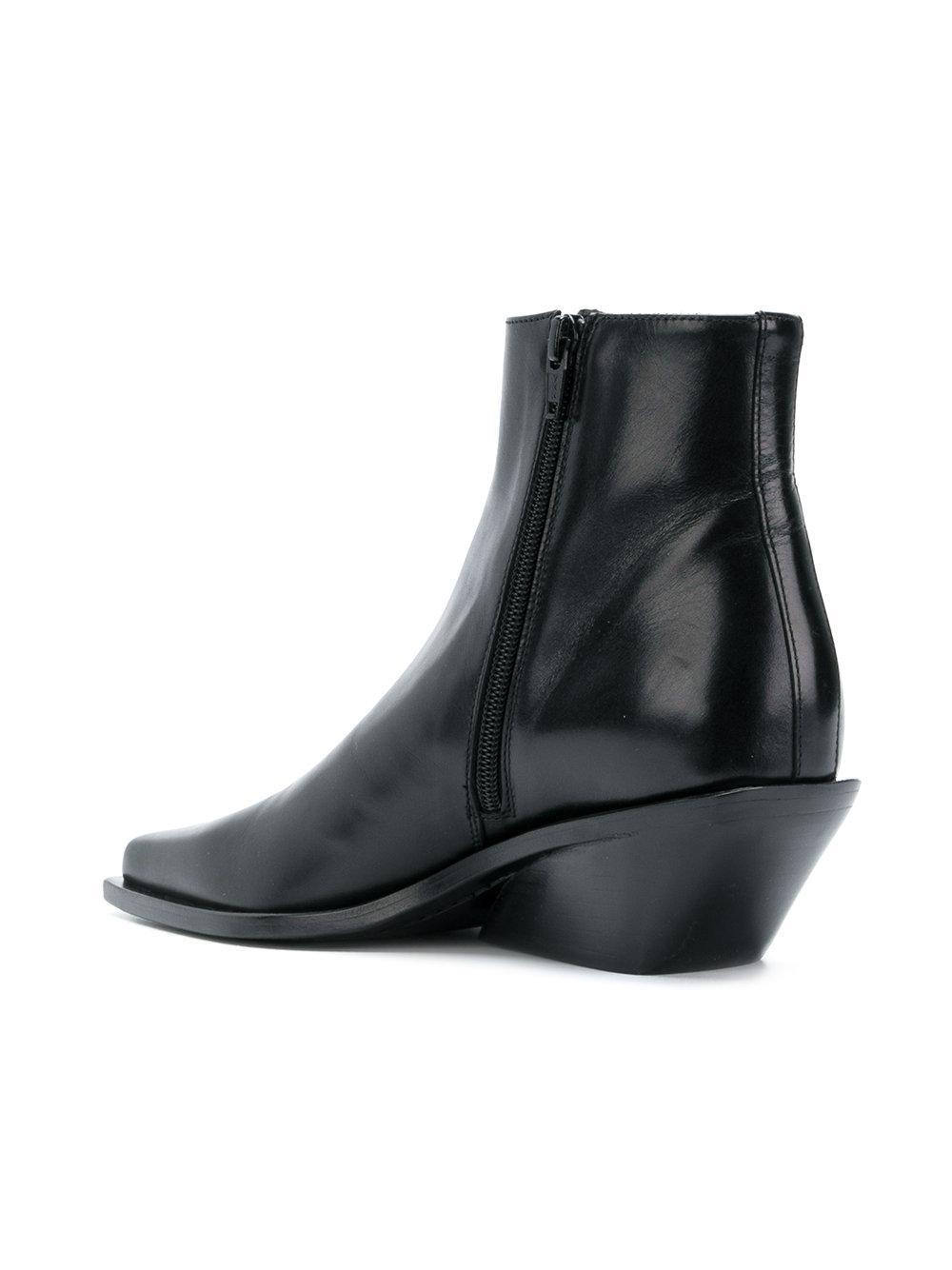 Ann Demeulemeester Leather Asymmetric Heel Boot in Black