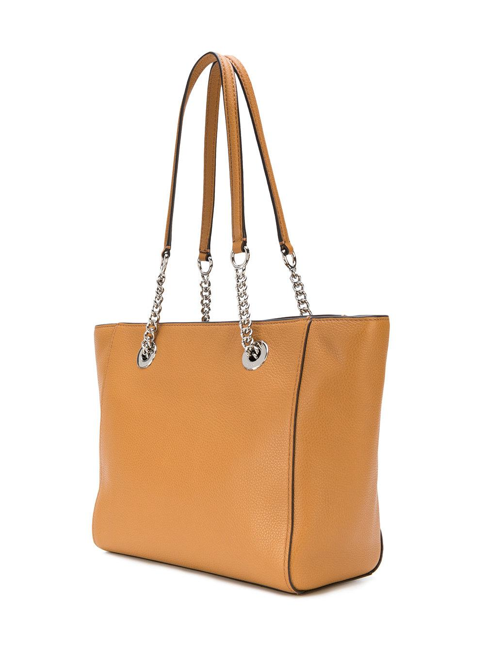 COACH Leather Turnlock Chain Tote in Brown