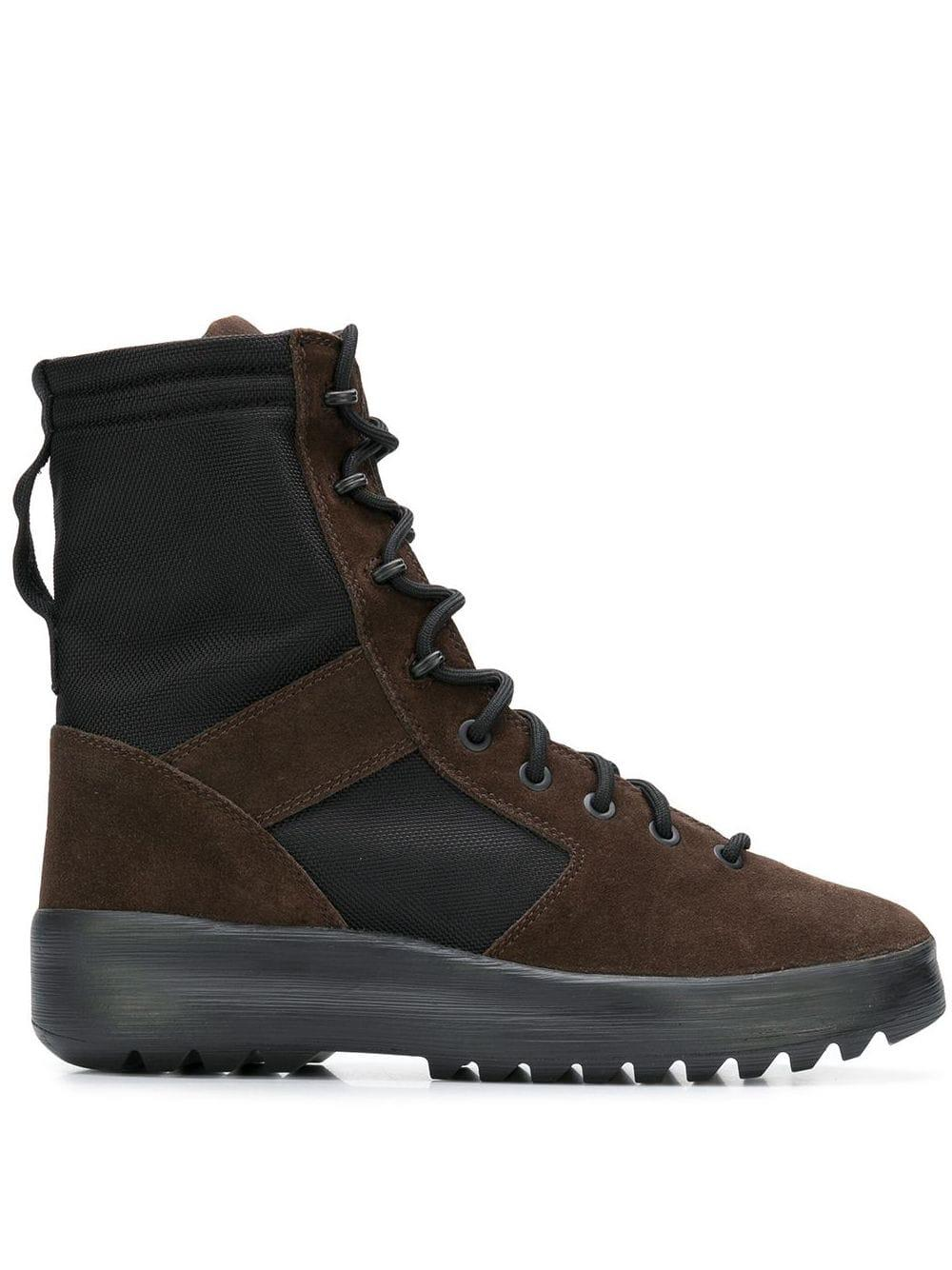 Yeezy Leather Lace Up Panelled Military Boots In Brown For