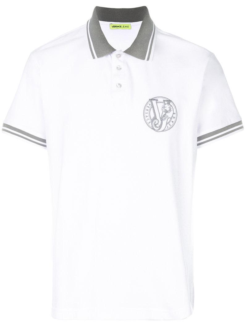 Lyst versace jeans logo polo shirt in white for men for Polo shirt with company logo