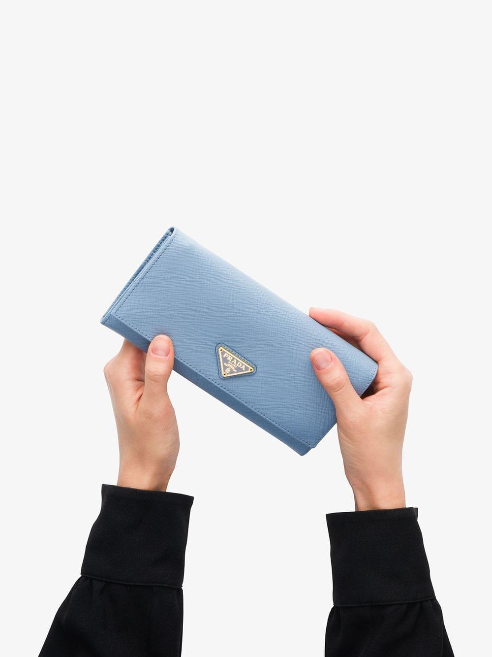 d49cca3d30af Prada - Blue Logo Plaque Continental Wallet - Lyst. View fullscreen
