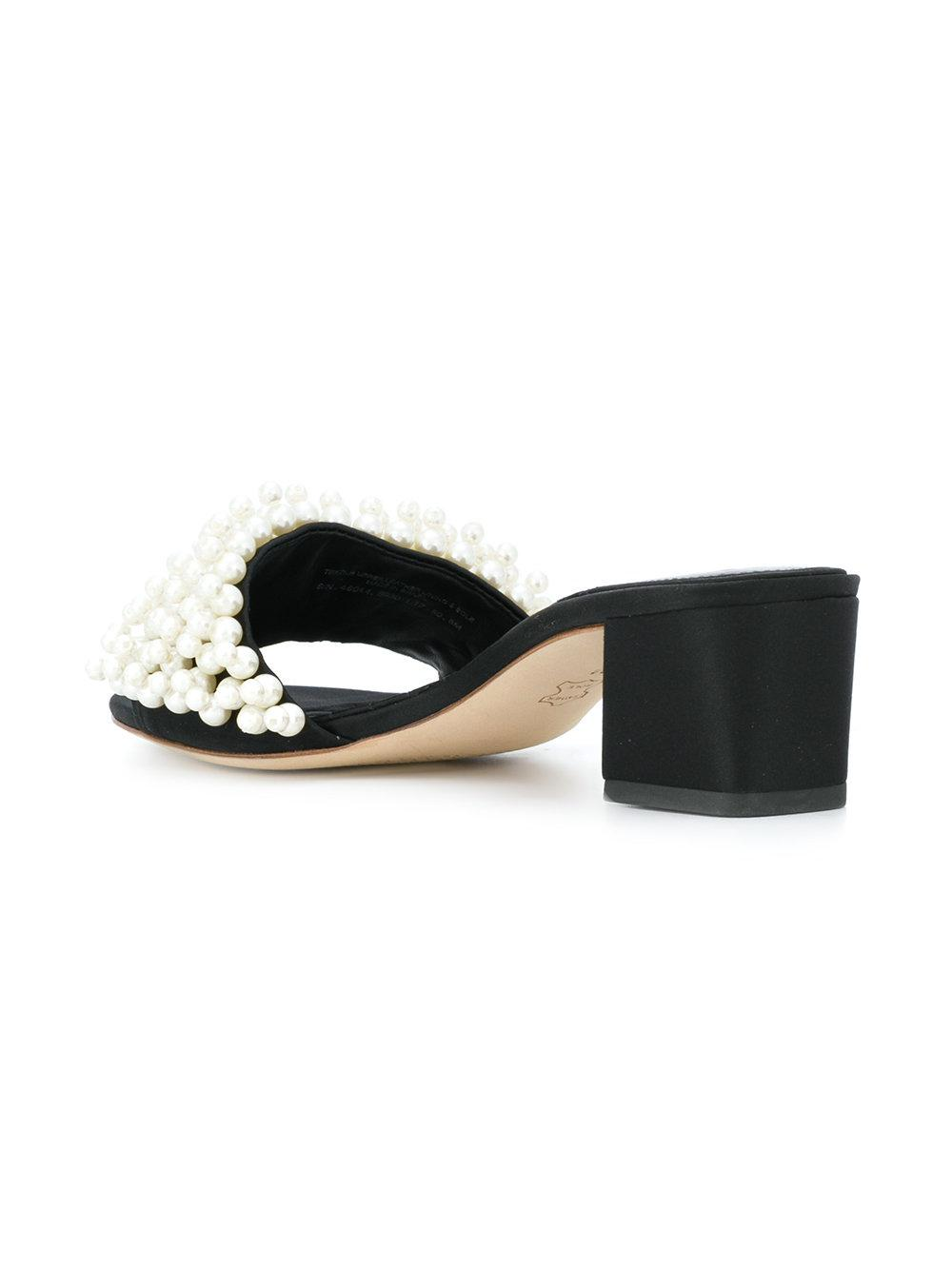 897303f3cf102 Lyst - Tory Burch Faux-pearl Slide Sandals in Black