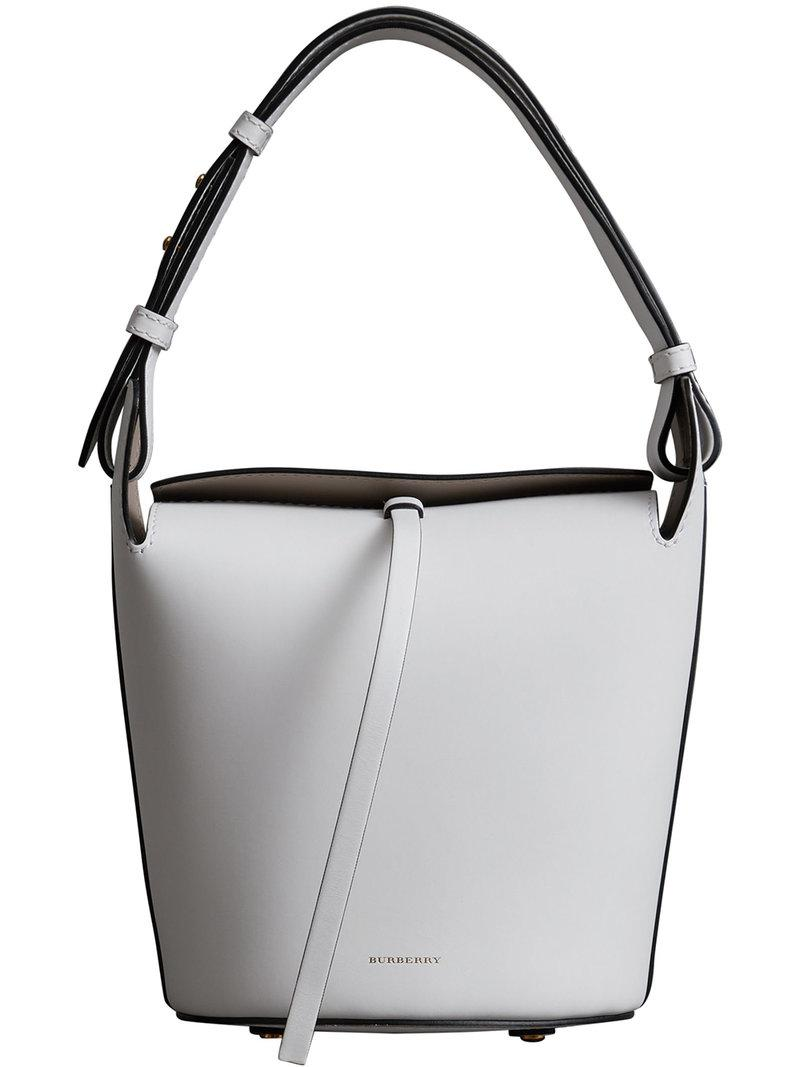 Sale Visa Payment The Small Leather Bucket Bag - White Burberry Big Sale Cheap Online Cheap Sale Discounts How Much Online Free Shipping For Cheap pa68JG