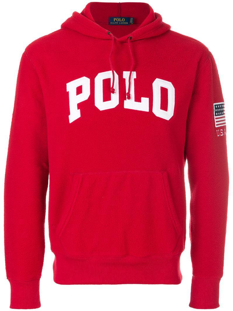 Polo Ralph Lauren Branded Hoodie in Red for Men - Lyst