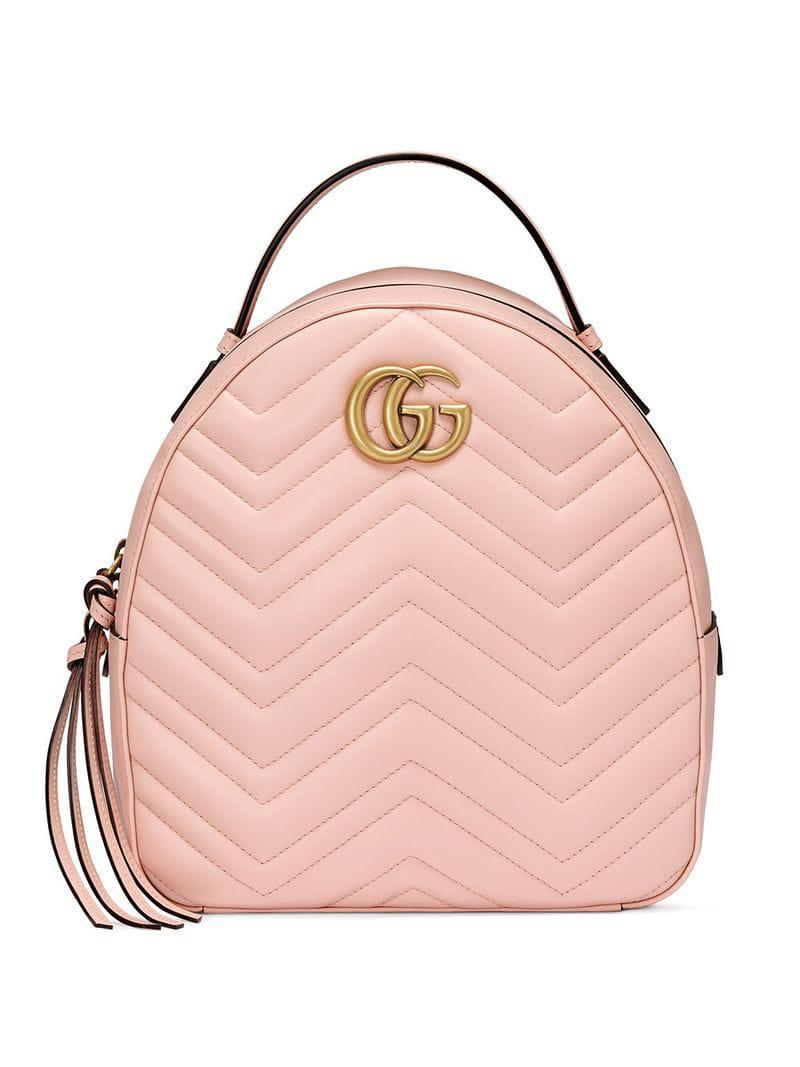 Lyst - Gucci Marmont Quilted Leather Backpack in Pink - Save 38% 337f5c9885
