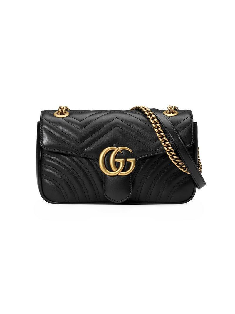 6089a147f198f7 Gucci Black GG Marmont Small Matelassé Leather Shoulder Bag in Black ...