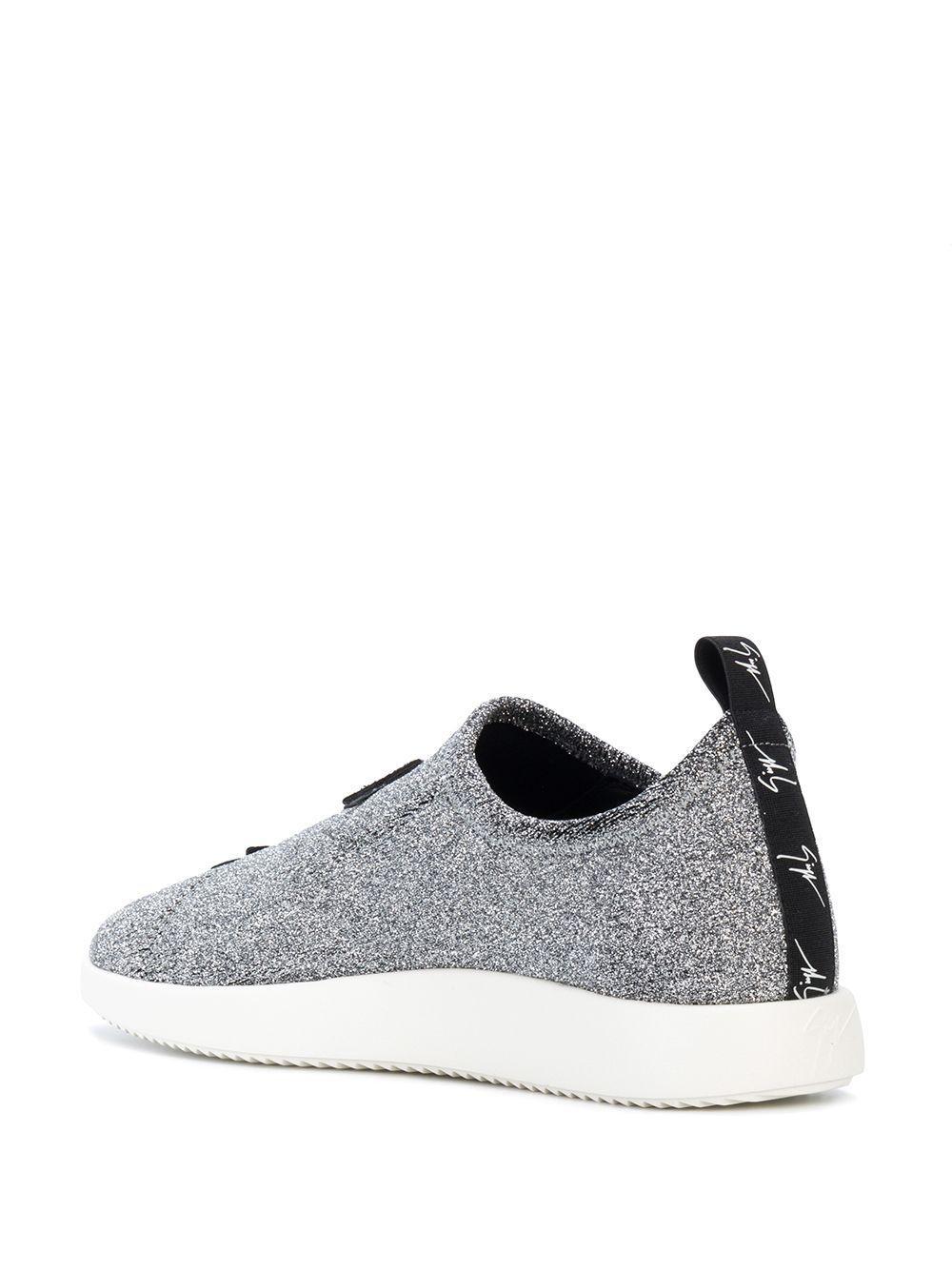 Giuseppe Zanotti Leather Alena Star Sneakers in Silver (Metallic)