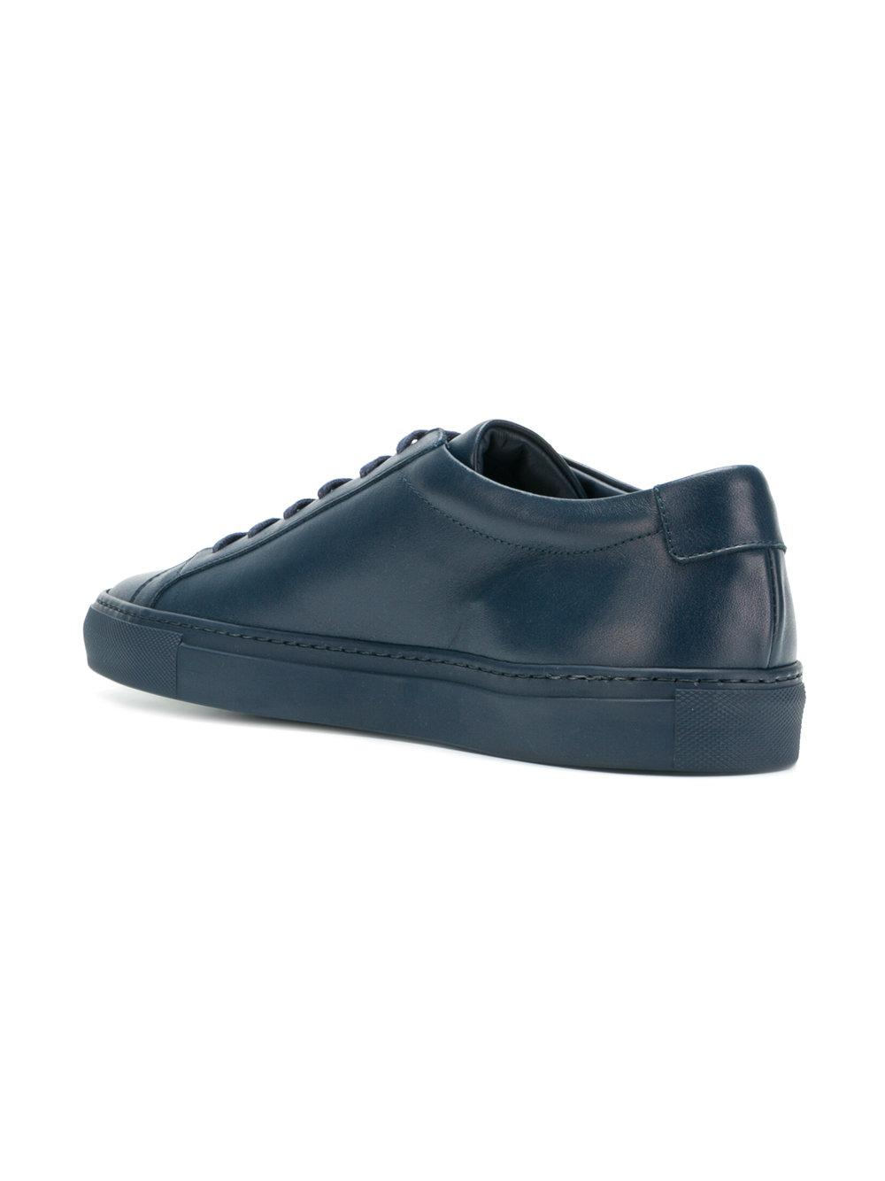 Common Projects Leather Achilles Low Top Sneakers in Blue
