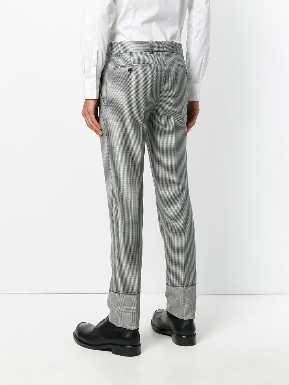 Alexander McQueen Wool Contrast Check Trousers in Black for Men