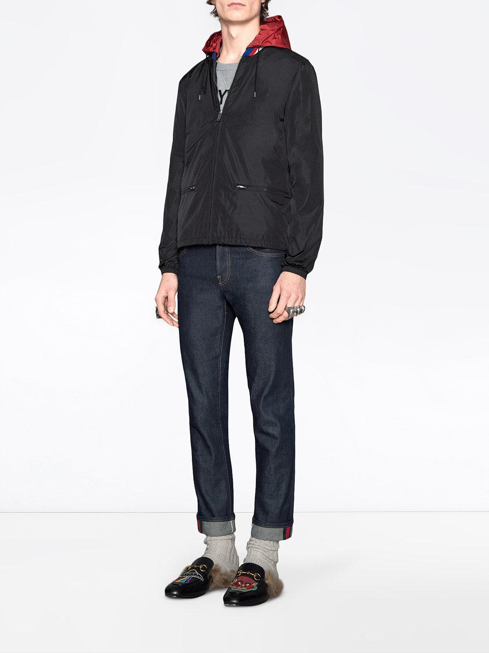 457b5158d Gucci Print Windbreaker in Black for Men - Save 25% - Lyst