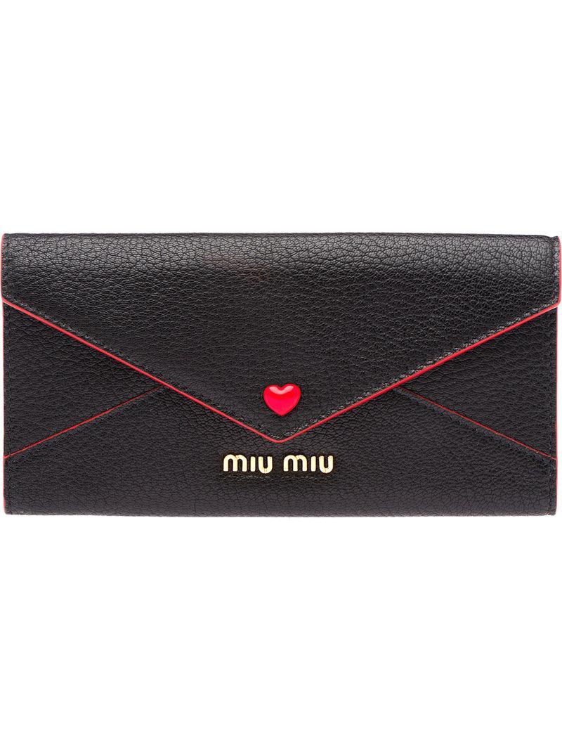 44551c12c8f2 Lyst - Miu Miu Madras Love Envelope Wallet in Black - Save 24%