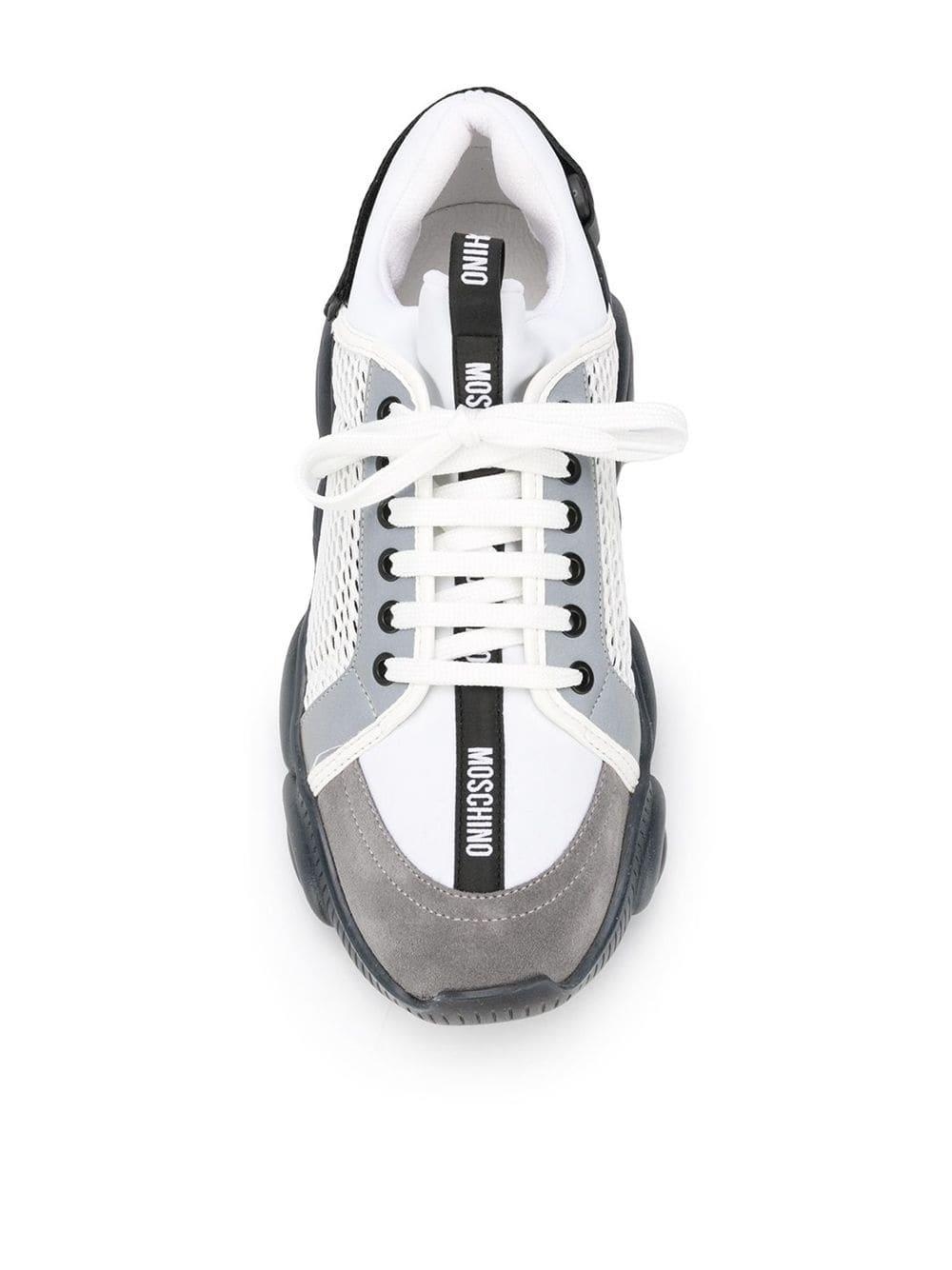 Zapatillas con diseño de paneles Moschino de hombre de color Blanco