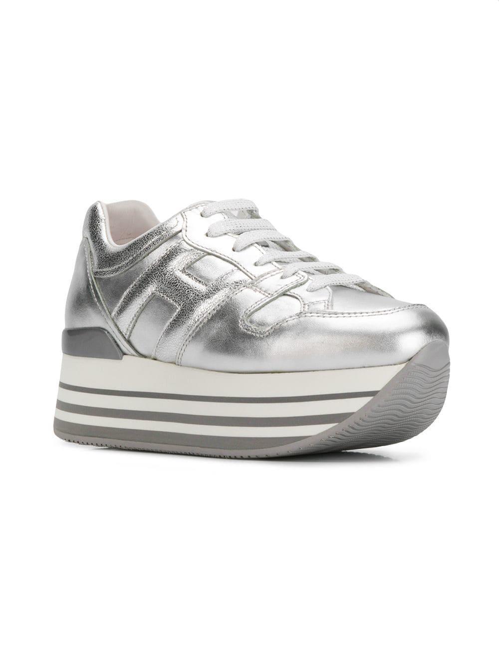 37c4ce2b536 Hogan - Metallic Striped Platform Sneakers - Lyst. View fullscreen