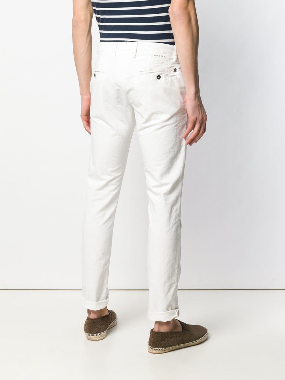 Incotex Katoen Skinny Broek in het Wit voor heren