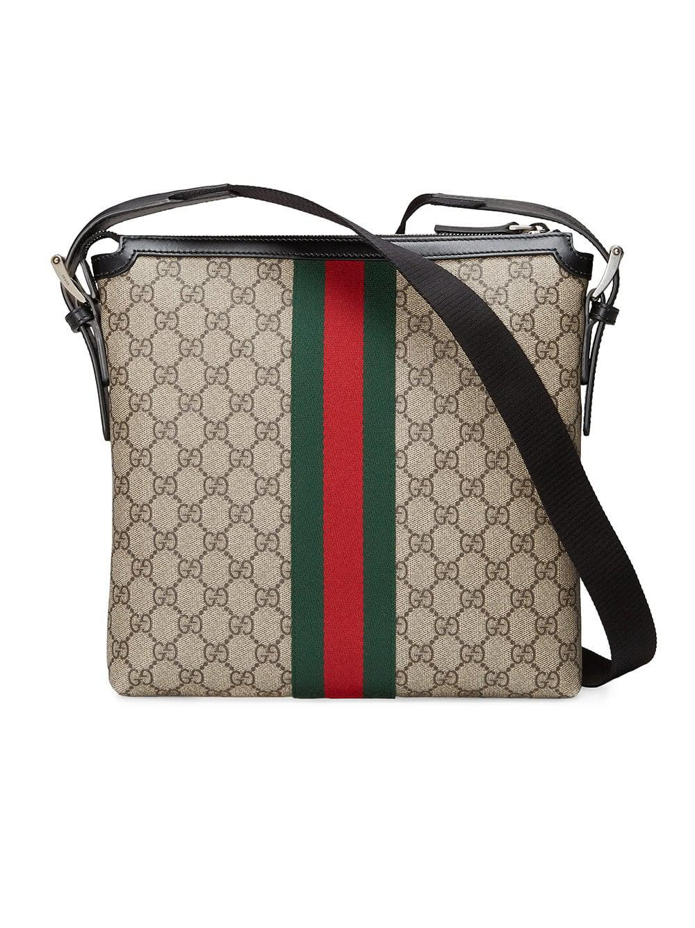 7c2ea0d3bf6 Gucci Web GG Supreme Messenger in Brown for Men - Lyst