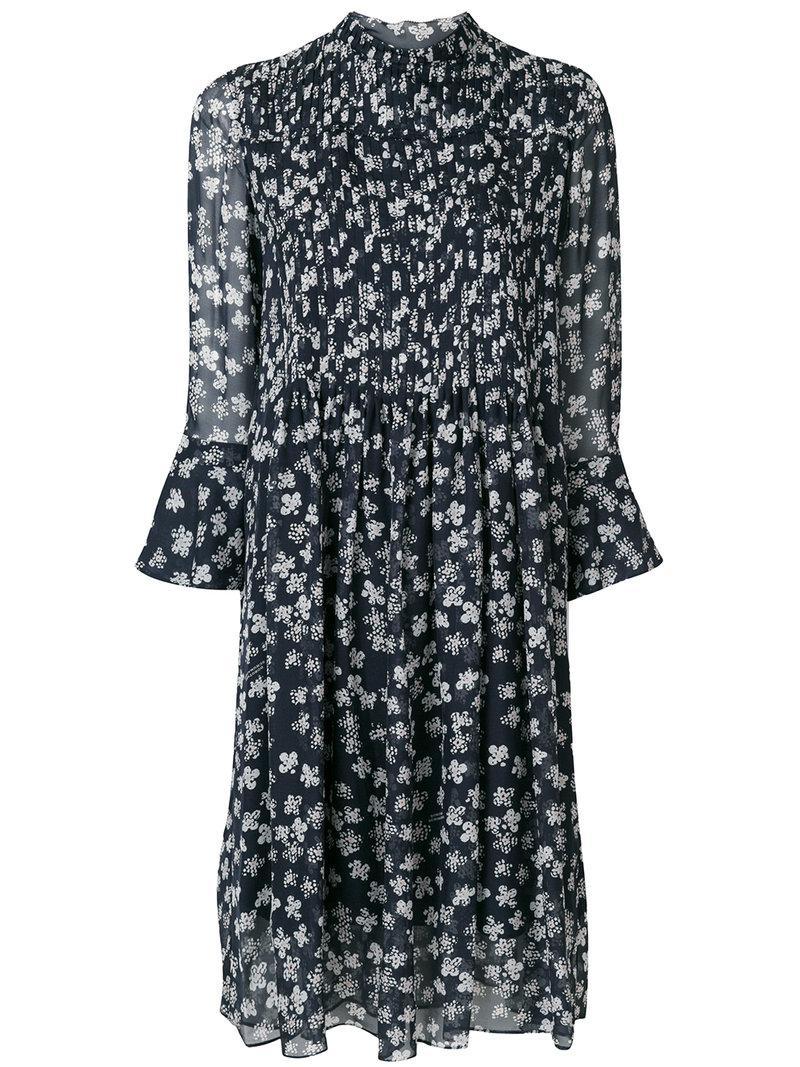 lyst dorothee schumacher floral print dress in blue. Black Bedroom Furniture Sets. Home Design Ideas