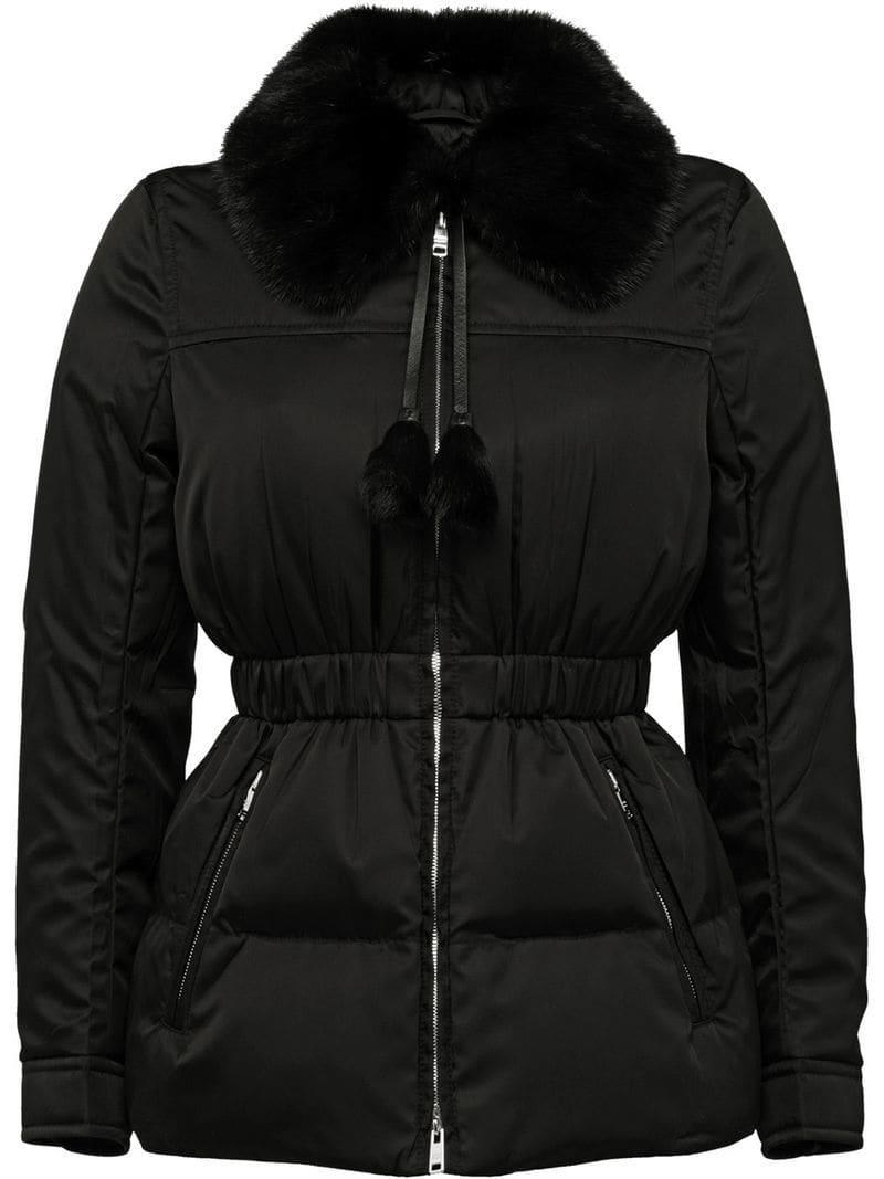 5552fc135bc0 Prada Down Jacket With Mink Fur Collar in Black - Lyst