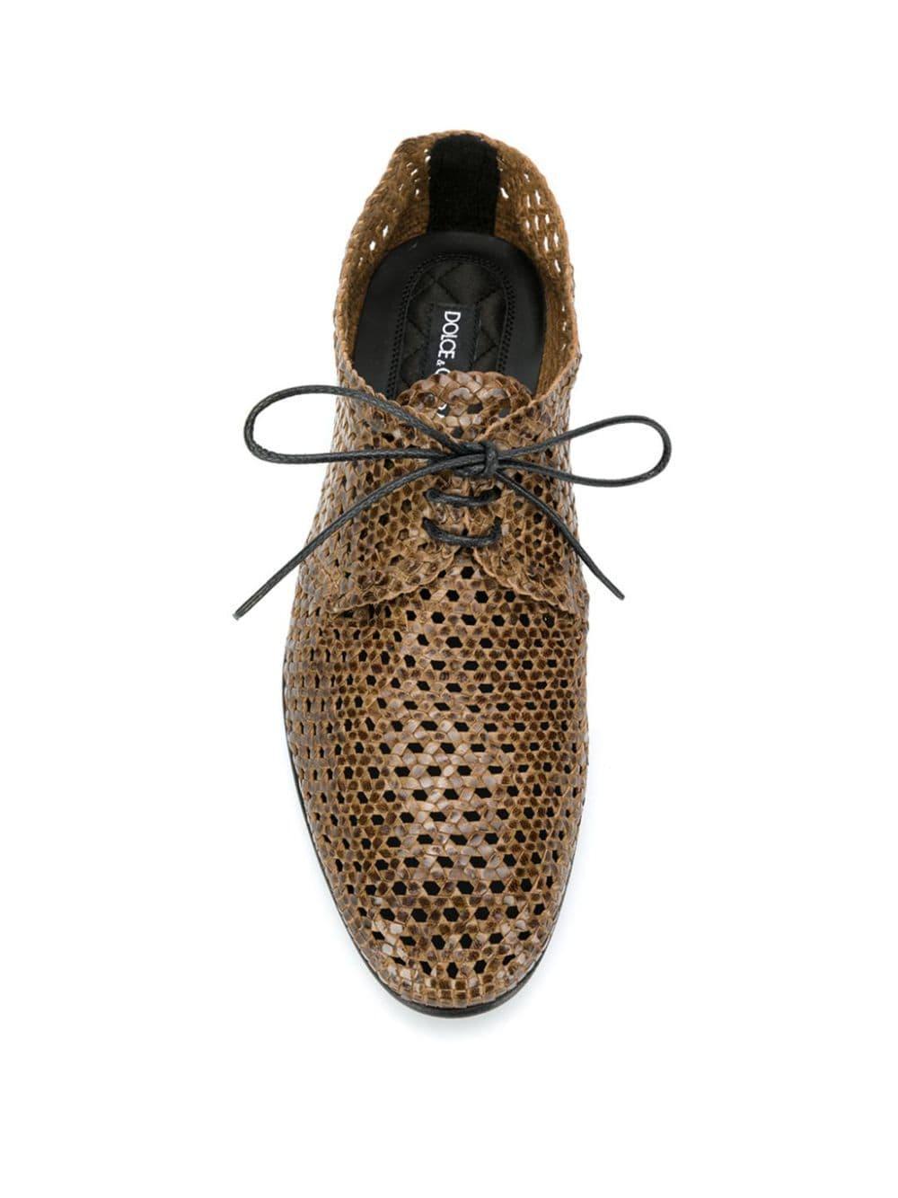 Dolce & Gabbana Leer Geweven Derby Schoenen in het Bruin voor heren