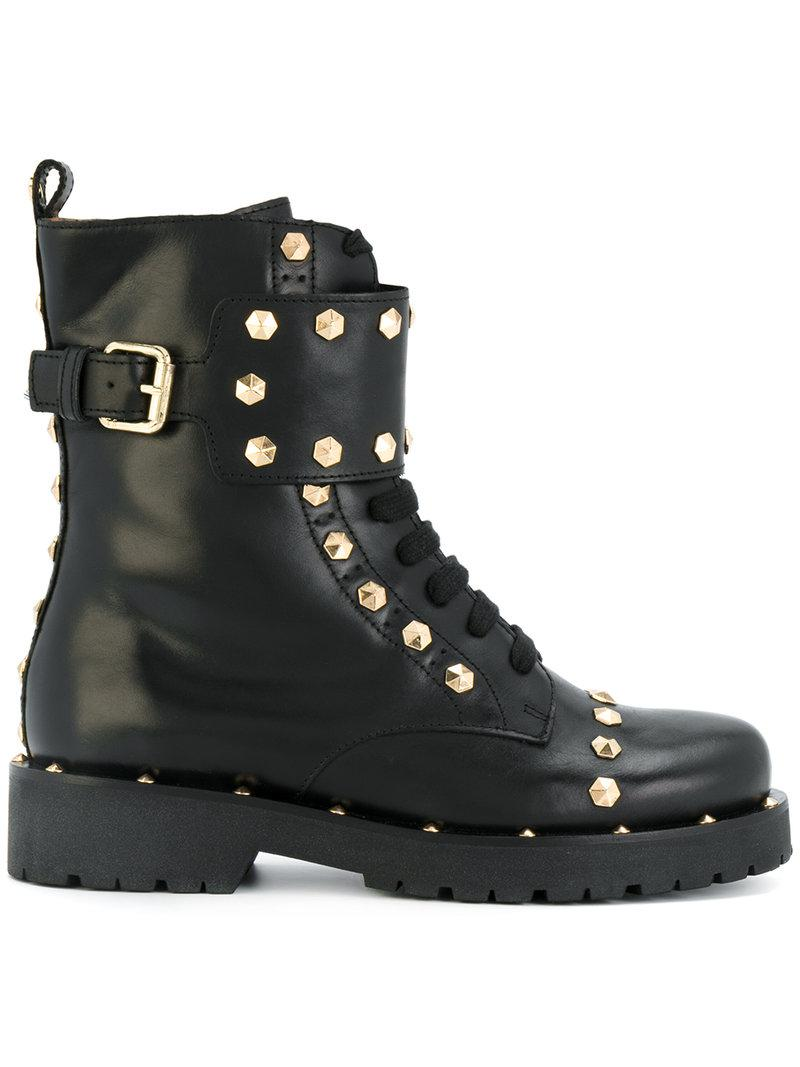 Twin Set Leather Geometric Studs Combat Boots In Black Lyst